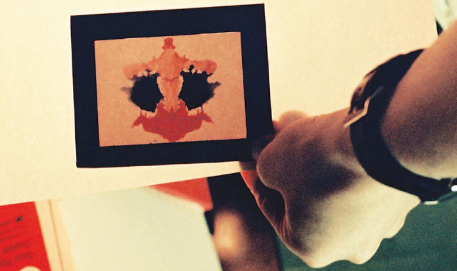 A Harrower Lantern slide of a Rorschach inkblot circa 1940s