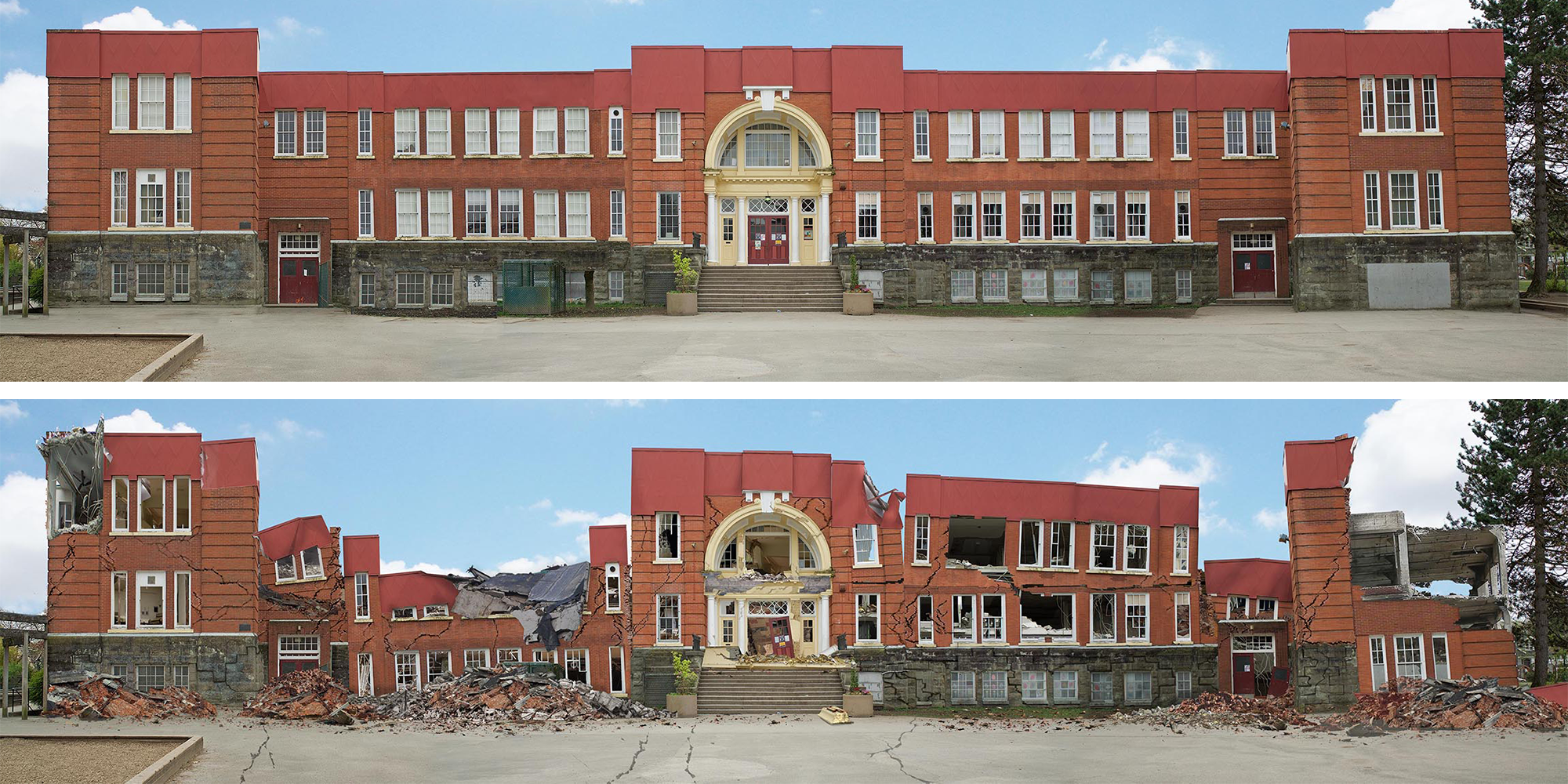 Photograph of Vancouver school before earthquake (above) and artist rendition of Vancouver school after hypothetical earthquake (below)